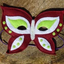 Masque enfants Papillon rouge grenat en feutrine et fait main