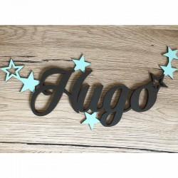 Plaque de porte en bois personnalisée Prénom avec étoiles