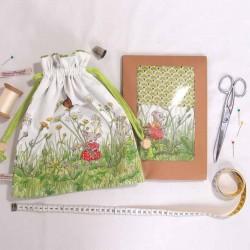 Kit créatif couture pochon sac à doudou souricettes au printemps pour enfants