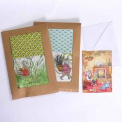 Lot de 2 Kits créatifs couture enfants pochon sac à doudou petites souris