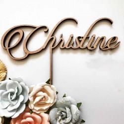 Cake topper personnalisé pour gâteau, en bois avec prénom