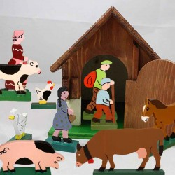 10 Figurines de la ferme en bois faites main en France