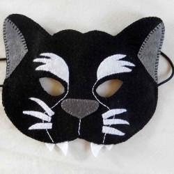 Masque Panthère noire en feutrine et fait main