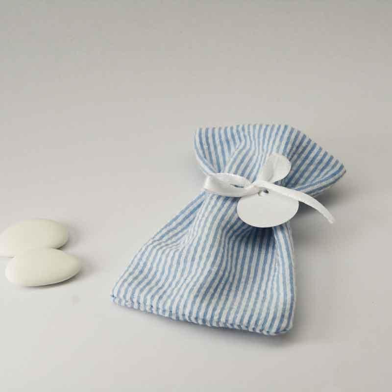 Sachet à dragées en tissu rayé blanc et bleu avec ruban de satin blanc personnalisable