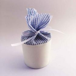 Boîte à dragées ronde blanche à rayures bleues et blanches personnalisable