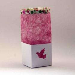 Contenant à dragées boîte blanche carton tissu personnalisable