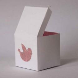 Boîte à dragées personnalisée blanche et rose avec dessin