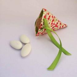 Ballotin à dragées forme berlingot en papier à fleurs