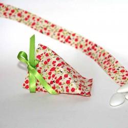 Sachet à dragées berlingot en papier lokta imprimé fleurs fait main