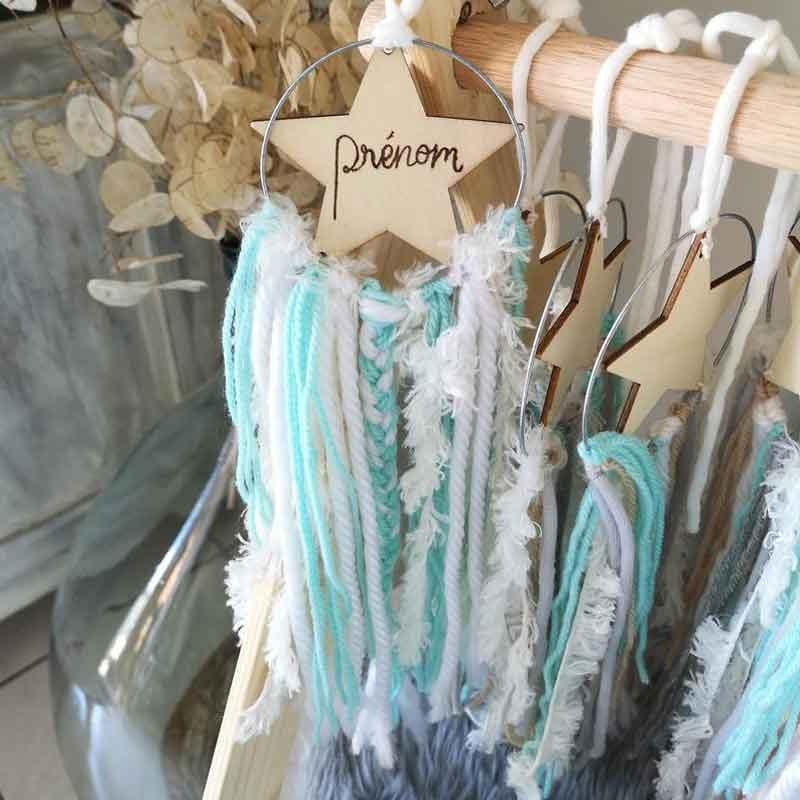 Petit attrape-rêves personnalisable avec étoile en bois gravée