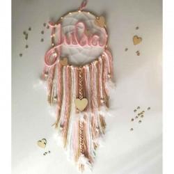 Attrape-rêves personnalisé rose laine et bois
