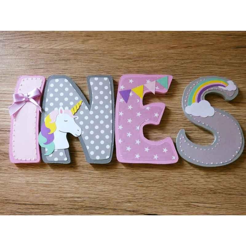 Lettres décoratives en bois au prénom de l'enfant thème licorne