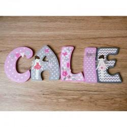 Lettres décoratives en bois au prénom de l'enfant thème fée