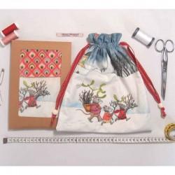 Kit créatif couture pochon sac à doudou souricettes en hiver diy pour enfants
