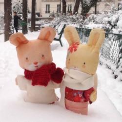 Lot de 2 doudous à coudre lapins