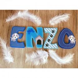 Lettres décoratives en bois au prénom de l'enfant thème chien