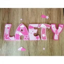 Lettres décoratives en bois au prénom de l'enfant thème fée clochette