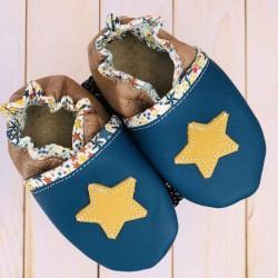 Chaussons bébé en cuir souple et liberty motif étoile
