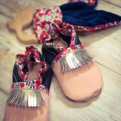 Chaussons bébé à franges en cuir véritable de qualité fabrication artisanale française