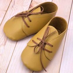 Chaussons bébé en cuir à lacets fabriqués en France