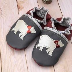 Chaussons bébé en cuir souple et liberty motif ours blanc personnalisés