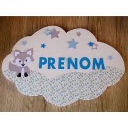 Plaque de porte bébé personnalisée petit renard et fleurs couleur bleue