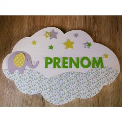 Plaque de porte bébé personnalisée petit éléphant et fleurs couleur verte