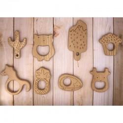 Anneaux de dentition en bois naturel pour bébé