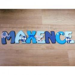 Lettres de porte en bois personnalisées thème animaux bleu clair bleu foncé