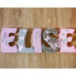 Lettres de porte en bois personnalisées thème papillon gris et rose