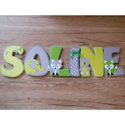 Lettres en bois thème animaux pour chambre d'enfants