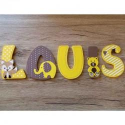 Lettres décoratives en bois au prénom de l'enfant thème animaux