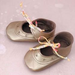 Chaussons ballerines filles en cuir avec lacets