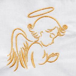 Etole de baptême brodée avec motif ange pour bébés faite main