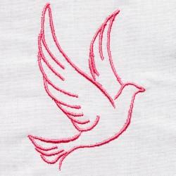 Etole de baptême brodée avec motif colombe pour bébés faite main