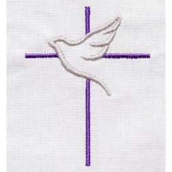 Etole de baptême brodée avec motif croix colombe pour bébés faite main
