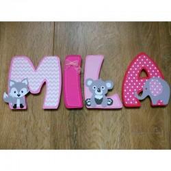 Lettres en bois avec dessins d'animaux pour chambre d'enfant