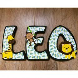 Lettres de porte en bois chambre d'enfant thème jungle-savane