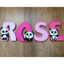 Lettres de prénom décoratives en bois thème panda