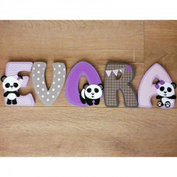 Lettres prénom en bois thème panda