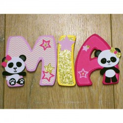 Lettres de porte en bois personnalisées thème panda