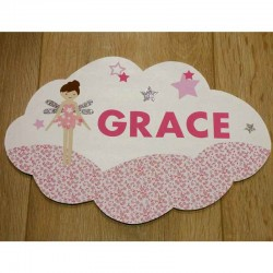 Plaque de porte personnalisée fille avec fée et fleurs