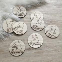 Cartes étapes grossesse en bois