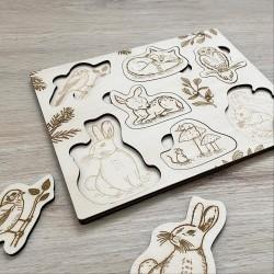 Puzzle en bois à encastrer Animaux de la Forêt fabriqué en France