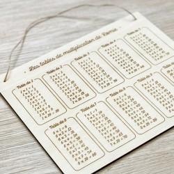 Affiche en bois Tables de multiplication personnalisé