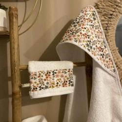 Cape de bain bébé personnalisable Louise fleurs terracota doré 80x80cm