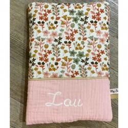 Protège carnet de santé personnalisé fleurs terracotta doré bandeau rose