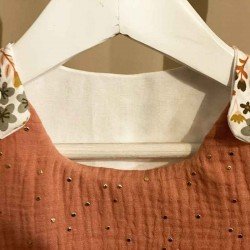 Gigoteuse tissu fleuri terracotta faite main