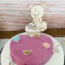 Cake topper personnalisé en bois nounours