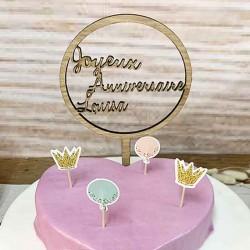 Cake topper personnalisé rond en bois Joyeux anniversaire